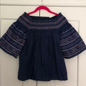NWT Parker Navy Off-Shoulder Top XS